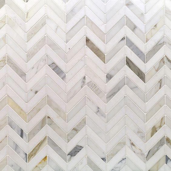 Kitchen Backsplash Tile - Talon Calacatta and Thassos Marble Tile - Chevron Pattern - Stone Collections: