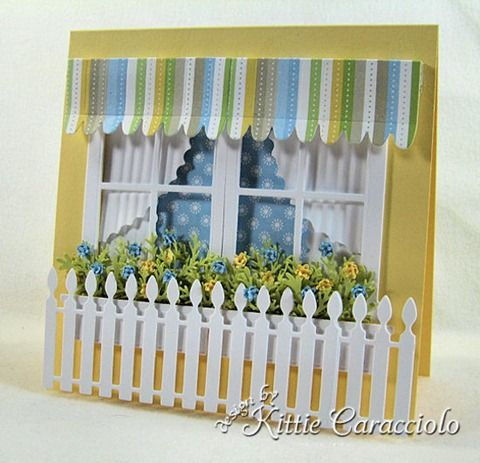 Double window scene card - awning - fence - bjl