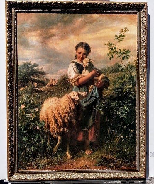 29x23 Vintage Canvas The Shepherdess Art By Johann Baptist Hofner Girl Lamb Vintage Art Vintage Framed Art Canvas Art