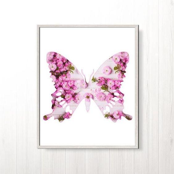 Chic Wall Art butterfly print pink butterfly art decor nursery print baby girl