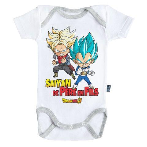 Body B/éb/é Manches Courtes Parent Licence Officielle Baby Geek Goku Dragon Ball Super /™