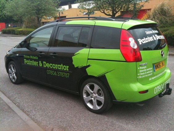 Your vehicle wrap will stand out even more if your design includes bright colors like this lime green.
