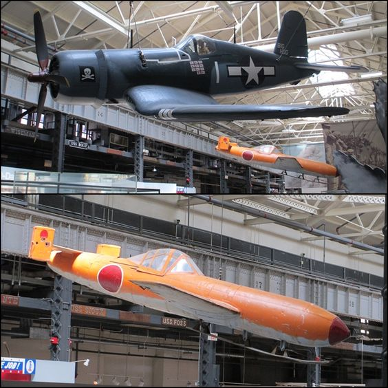 US Navy Vought F4U-4 Corsair fighter alongside a Yokosuka MXY7-K1 trainer at The National Museum of the US Navy in Washington DC (photos taken during my 2013 visit to the museum)