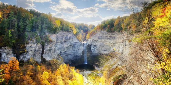 Gorgeous Gorge NY Finger Lakes region.  Fall Leaves, waterfall.