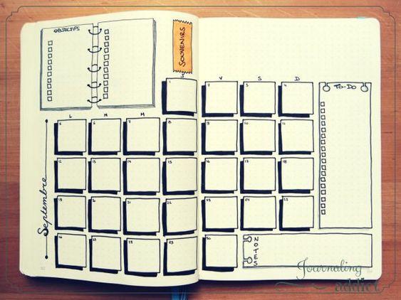 Modèles de pages mensuelles pour le #bulletjournal  #bulletjournalfr…