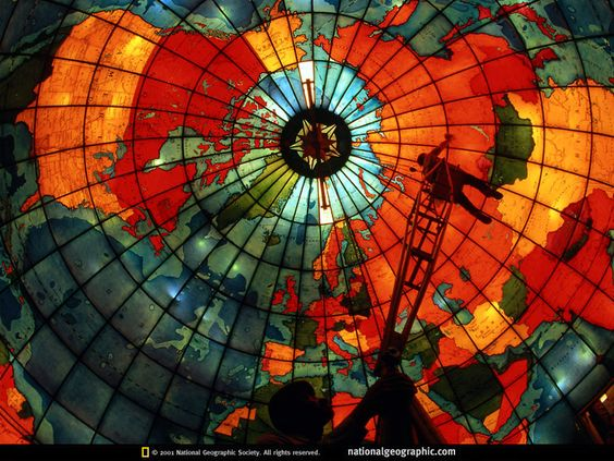 World Map Stained Glass Dome, located in the Christian Science Center in Boston, The Mapparium is a spherical stained glass room that depicts as a map of the world with political borders from 1935.