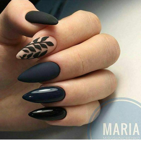 Black Leaf Botanical Nails Nail Art Designs Nail Designs Nail