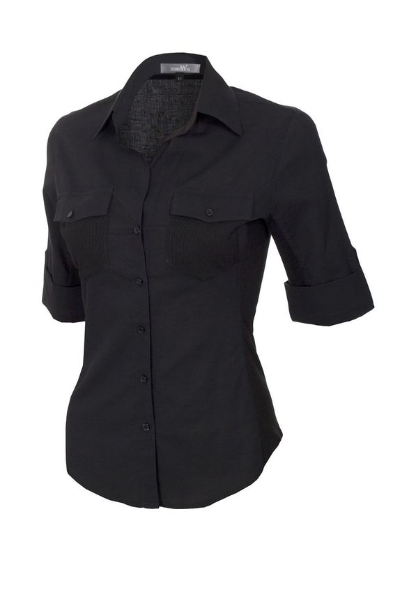 J.TOMSON Womens Button Down Shirt With Ribbed Side Trim ($15.99 ...