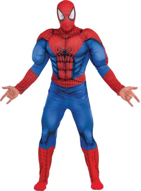 Adult Spiderman Muscle Costume Deluxe , Spiderman 2 , Party City