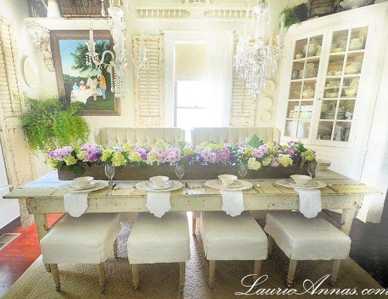 Unbelievable farmhouse dining room table and centrepiece... via LaurieAnna's Vintage Home. WOW!!
