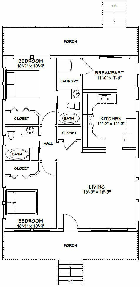 28x36 House 2 Bedroom 2 Bath 1 008 Sq Ft Pdf Floor Plan Model 3e Ebay In 2020 Small House Floor Plans Carriage House Plans House Plans