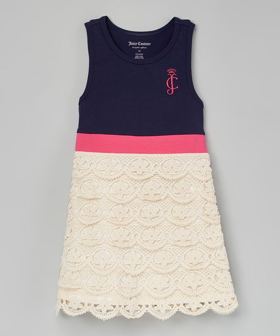 Look at this Juicy Couture Navy & Pink Crochet Sleeveless Dress - Toddler & Girls on #zulily today!