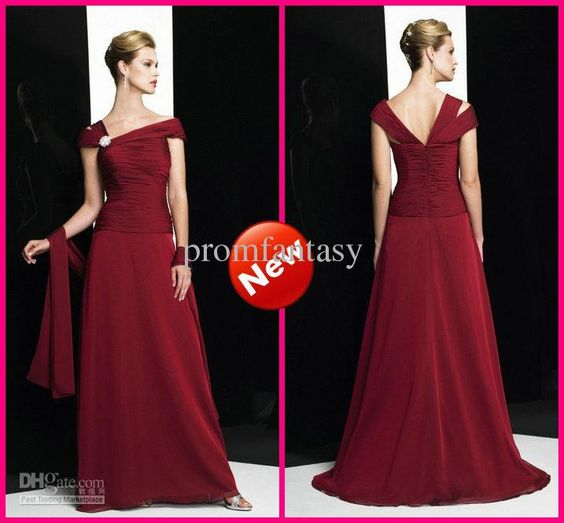 Wholesale 2013 Off Shoulder Beaded Chiffon Column Red Chiffon Sexy Mother of the Bride Gowns Dresses with Wrap, Free shipping, $121.73-136.34/Piece | DHgate