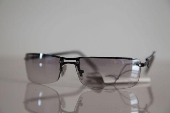 Black Rimless Frame, Light Brown-Gray Lenses #Rectangular