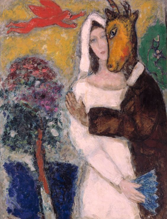 """Marc Chagall - A Midsummer Night's Dream (1939)   """"I'll follow you and make a heaven out of hell, and I'll die by your hand which I love so well."""" - Midsummer Night's Dream, Shakespeare."""
