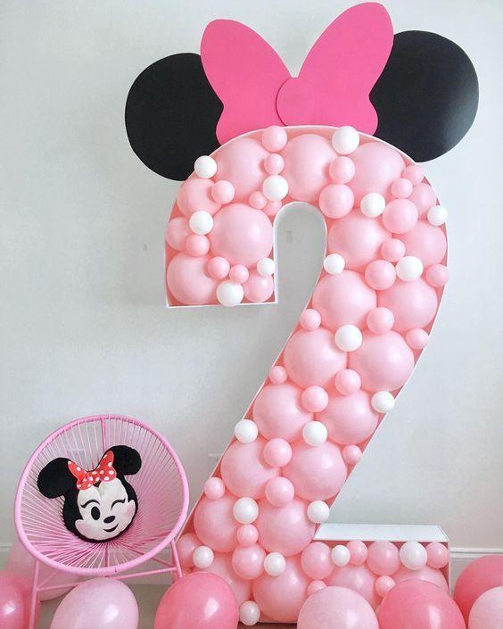 Fiesta Infantil Temática De Minnie Mouse Tendencias 2019 2020 Minnie Mouse Balloons Minnie Mouse Birthday Party Decorations Balloon Decorations Party