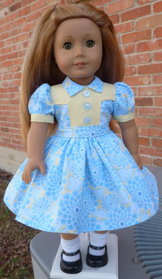 18 doll clothes historical 1940s style spring dress for easter fits american girl emily molly. Black Bedroom Furniture Sets. Home Design Ideas