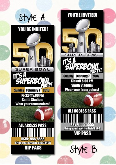 Super Bowl 50 Party Printable Ticket Invitation:
