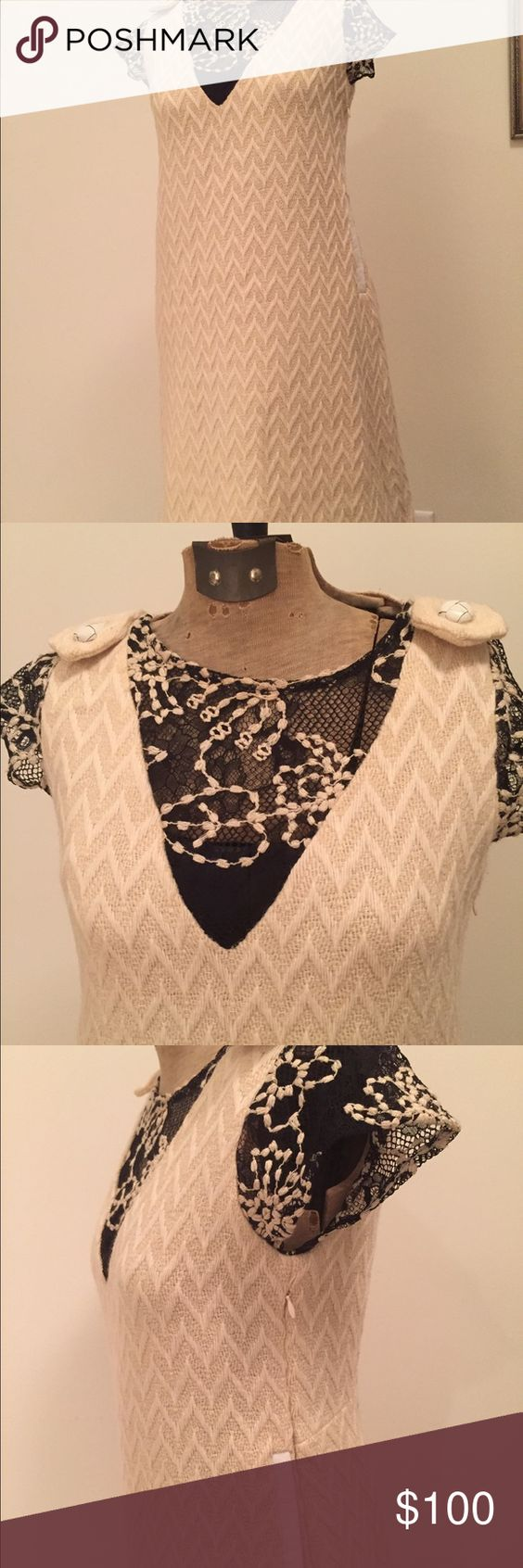 Billy Reid Winter Cream Wool and Black Lace Dress This is a fabulous high end Billy Reid designer dress featuring cream wool, black and metallic gold lace sleeves, leather accents on pockets and buttons on shoulders. Has a silk lining and a metal zipper on side. Billy Reid Dresses Mini