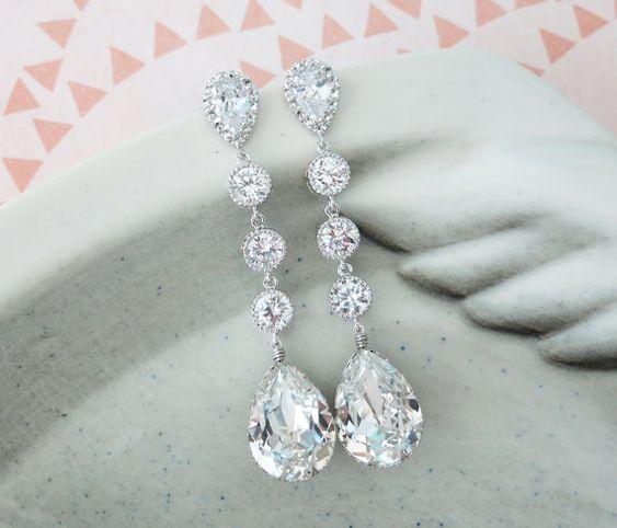Wanetta - Silver Swarovski Crystal Teardrop Earrings, Bridesmaid Earrings, Bridal Wedding Jewelry, Cubic Zirconia Earrings, white weddings