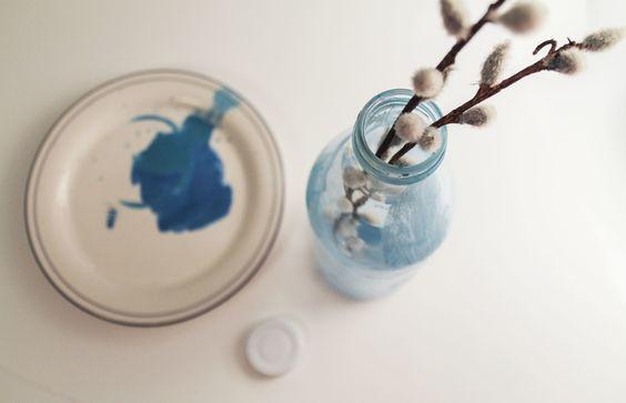 DIY color washed glass bottle #DIY #craft #watercolor