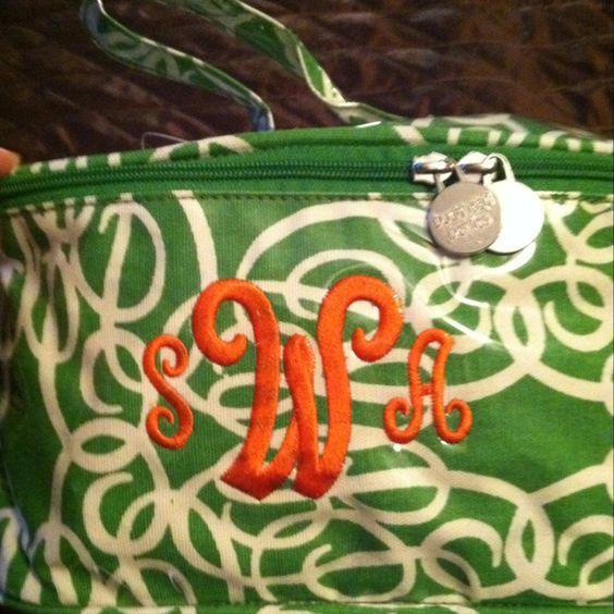 New make up bag :) love the orange n green combo!