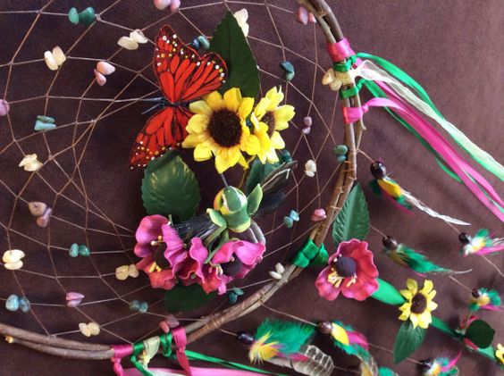 Dream Catcher In the Garden Beaded Dream Catcher by MoonMotions