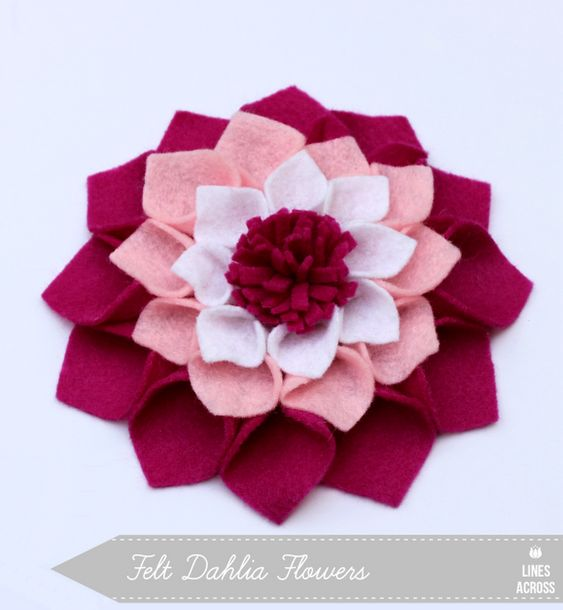 Felt Dahlia Flowers... tutorial and free template.  (no sew)