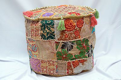 ROUND OTTOMAN PATCHWORK 17 X 12'' INDIAN POUF FLOOR SEATING COVER