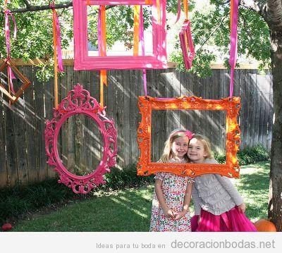 Marcos colgados, phtoocall original para boda o fiesta en el jardín