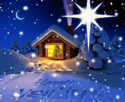 snow home and star happy new year card animated