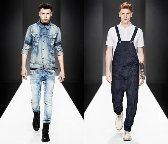 (1a) Raw Essentials Arc Jacket & 3301 Super Slim Denim Jeans - (1b) Arc 3D Salopette One Piece Overalls - G-Star RAW 2013 Spring Summer Mens Runway Collection
