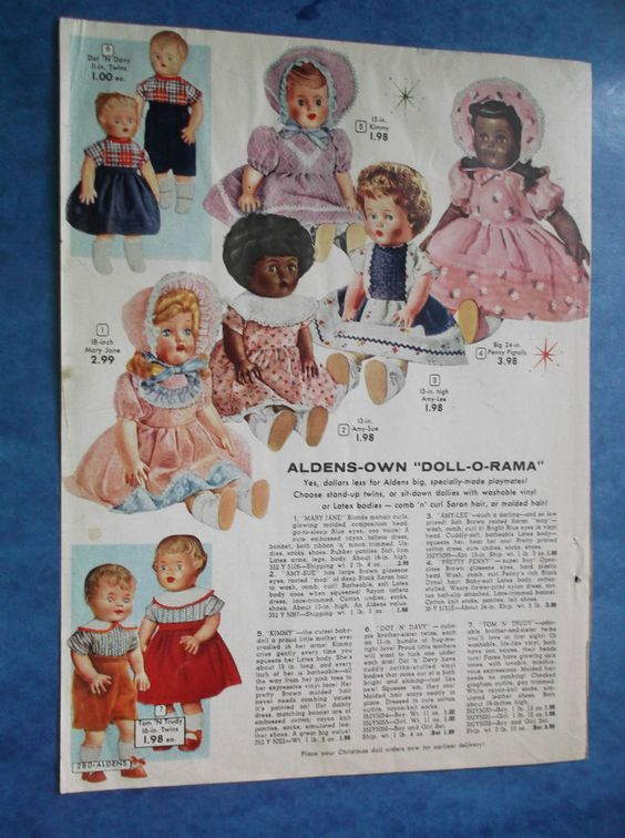 ORIGINAL 1956 ALDENS DOLL-O-RAMA Dolls- CATALOG ADVERTISEMENT Page in Collectibles, Advertising, Merchandise & Memorabilia | eBay
