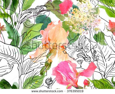 Seamless Pattern Watercolor Illustration Pink Irises and Doodle Jungle Leaves Bright - stock photo