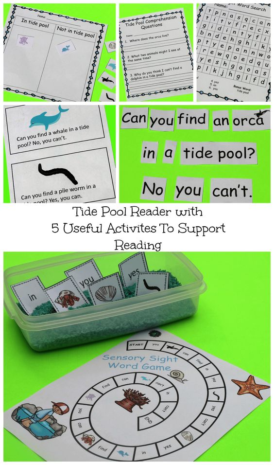 Get a free sensory game to compliment a tide pool emergent reader. Pack includes pocket chart activity, word search, cut and paste, and comprehension worksheet.