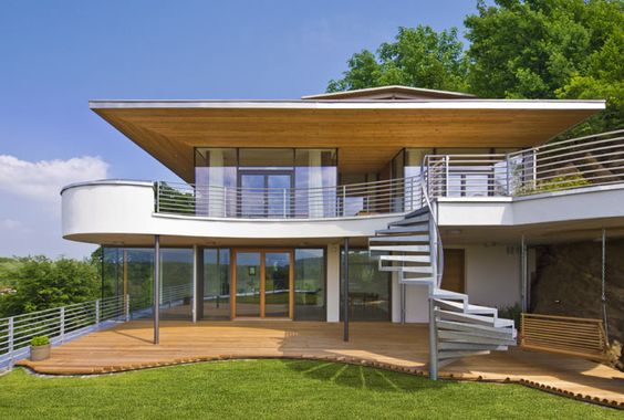 Modernes baufritz haus lelijke vormen maar hout onder en - German prefab homes grand designs ...