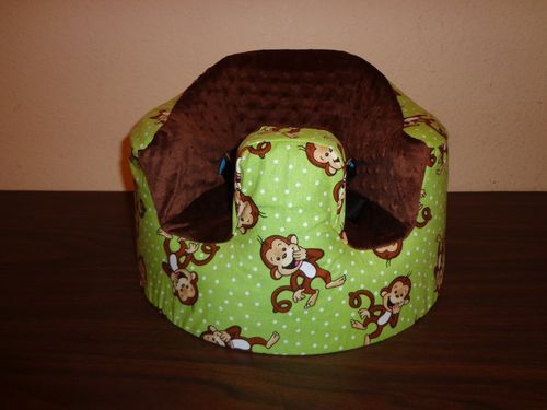 New Bumbo Seat COVER - Green with Giggling Monkeys - Recall/Safety Strap Ready