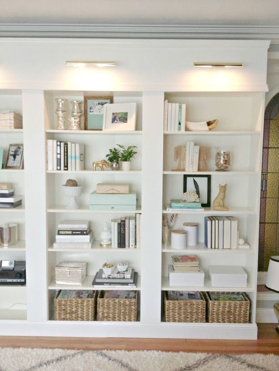 Beautiful Library Lights - Design Chic - love the baskets in the bookcase!: