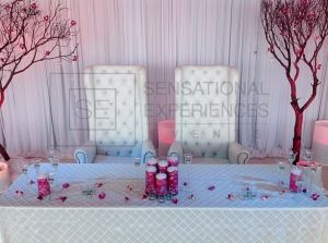 High Back Royal Throne Chairs For Sweetheart Table By Sensational Experiences Events Design Decor And Rentals Wedding Event Miami Florida