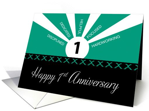 Business 1st Year Employee Anniversary Green Black Card Employee Anniversary Cards Business Anniversary Ideas Work Anniversary