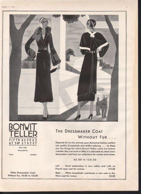 1931 BONWIT TELLER DRESSMAKER COAT FASHION DOG ART TAILOR STYLE DESIGN HEIM A | eBay