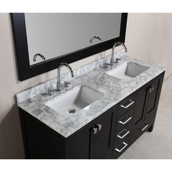 Design Element London 60-inch Espresso Double Sink Vanity Set with Mirror