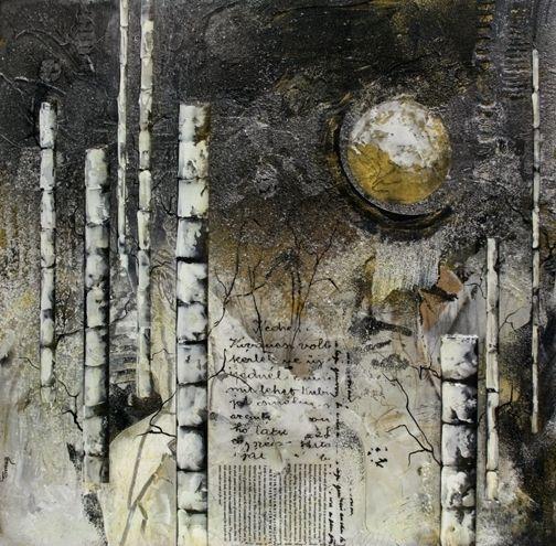 Moon Over Birchwoods by Carol Staub Mixed Media ~ 24 x 24
