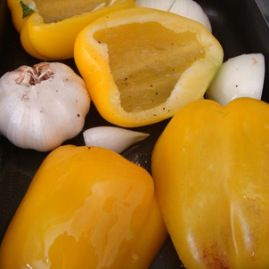 Roasted Yellow Pepper Soup with BasilCream