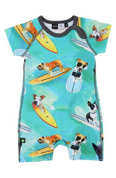 Free shipping and returns on Molo Print Short Sleeve Romper (Baby Boys) at Nordstrom.com. Exploring the treasures of the ocean floor, eight-armed mollusks occupy the photorealistic space on a cotton-blend romper.<br><br>Based in Copenhagen, Denmark, molo is known for producing quirky, charming pieces meant to appeal to a child's sense of humor.: