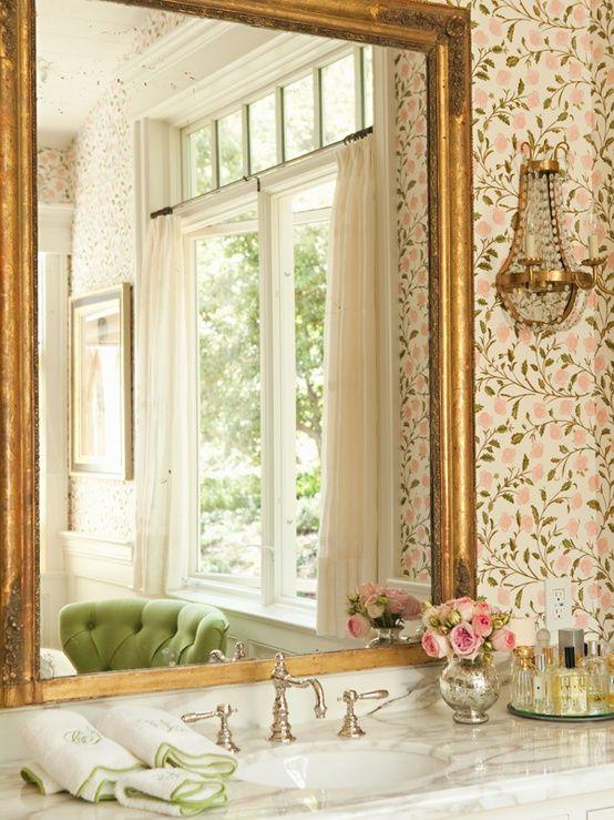 Target Bathroom Sconces gold mirror with nickel/chrome fixtures | bathroom decor