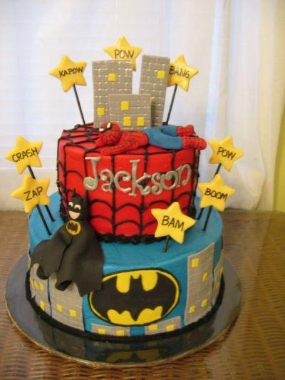Batman/Spiderman cake By LoriMc on CakeCentral.com