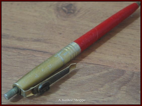 Pen 1964 Ball Point Unbranded Red Plastic Gold Metal With Patent Pending Clip  Junk 656  http://ajunkeeshoppe.blogspot.com/