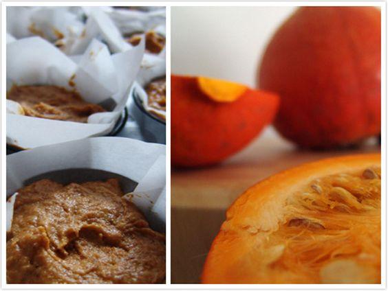 Le Passe Vite: Muffins de Abóbora e Especiarias com Cobertura de Coco, Baunilha e Avelãs Torradas