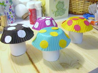 Learn To Grow: Mushrooom Toy Craft: toilet paper tube rolls and cupcake liners: